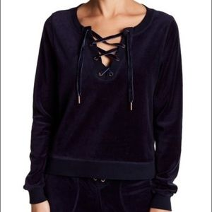 NWT Betsey Johnson velour lace up pullover